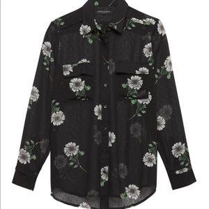 Banana Republic Petite Black Classic Floral Shirt